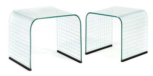 Two J. Robert Scott glass nesting tables