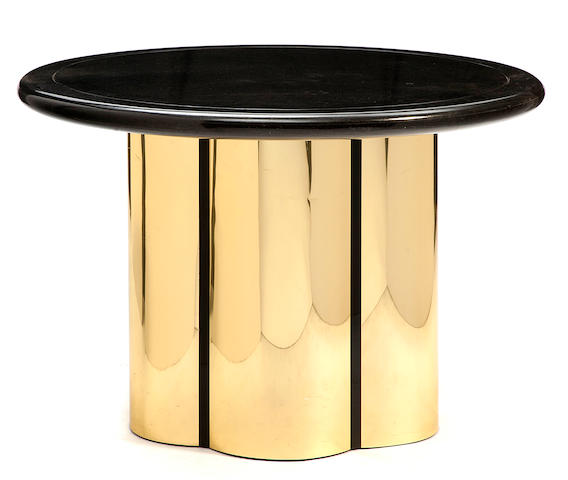 A brass and patinated metal circular table 1980s