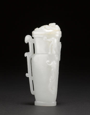 A white jade covered vase 19th century
