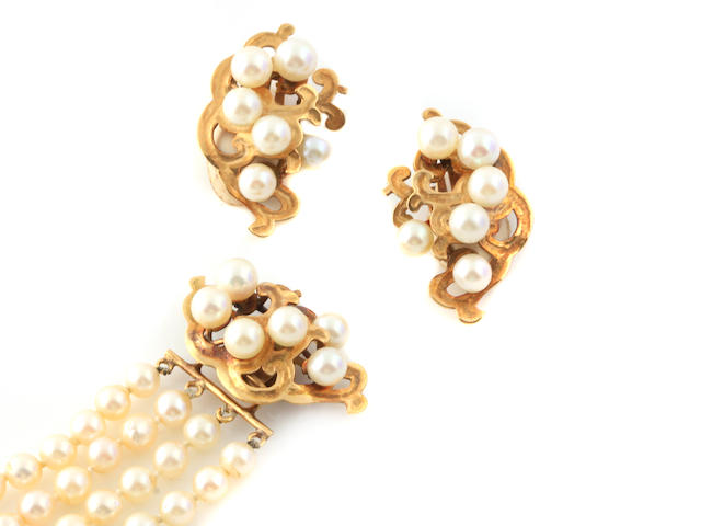 A group of cultured pearl and gold jewelry set