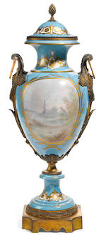A Sèvres style porcelain gilt bronze mounted covered vase <BR />late 19th/early 20th century
