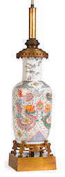 A Chinese porcelain and French gilt bronze mounted vase now mounted as a table lamp <BR />late 19th century
