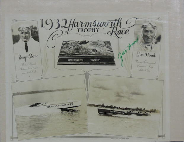 A Gar Wood and Kaye Don 'The Harmsworth Trophy Race-1932- signed photograph flyer,