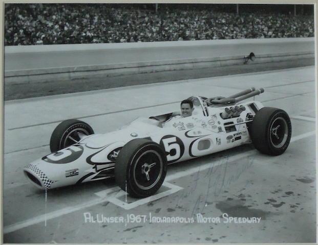 A signed photograph of Al Unser,