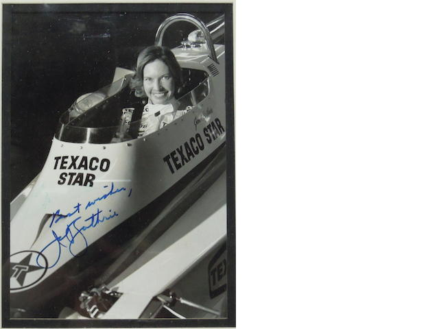 A signed photo of Janet Guthrie,