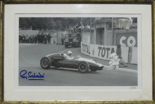 A signed photograph of Ray Salvadori,