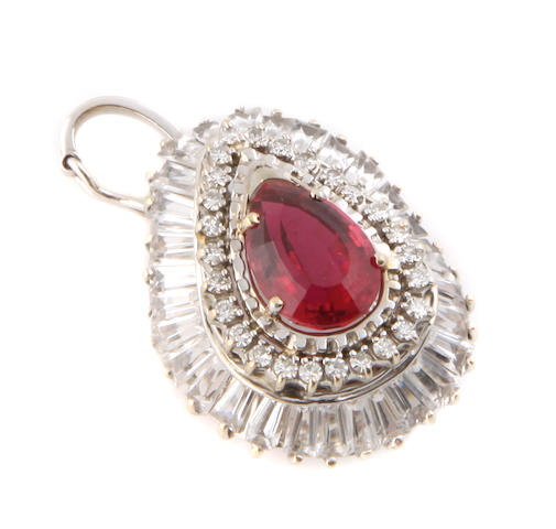 A pink tourmaline, diamond, white stone and white gold pendant enhancer