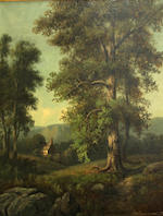 Ch. Beaumont A wooded landscape with a bridge; A wooded landscape with a cottage (a pair) 30 x 25in