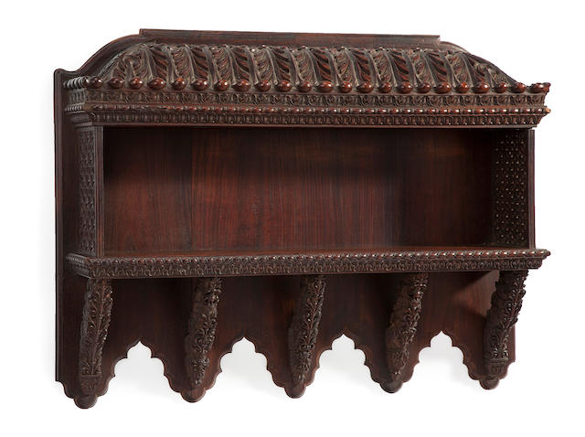 An Anglo-Indian carved padouk wall shelf  second half 19th century