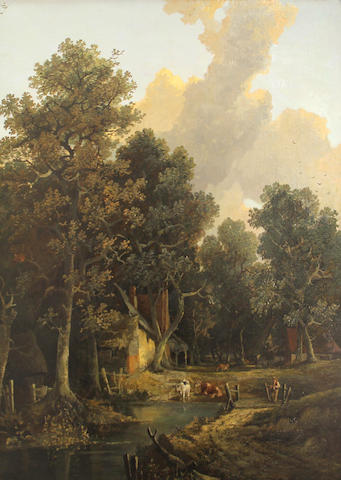 English School, A rustic scene with cattle watering, o/c, 38 1/2 x 31in
