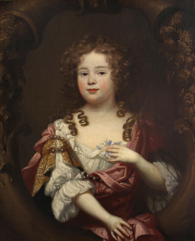 Circle of Mary Beale (Suffolk 1633-1699 London) A portrait of a young girl, half-length, wearing a white dress with a red robe, holding a sprig of flowers 30 1/4 x 25in