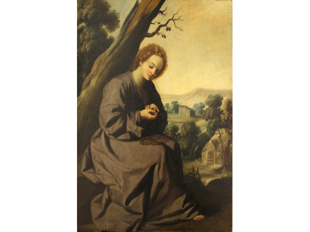 Spanish School, 18th Century SENDING TO BK The young Christ wounded by a thorn 41 1/2 x 31 1/4in (105.4 x 79.4cm) unframed
