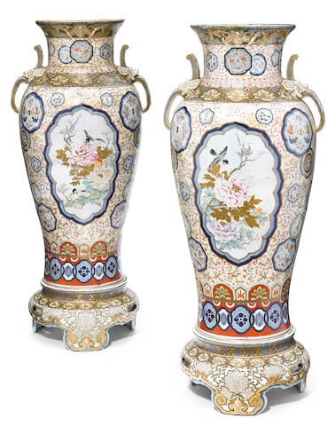 A large pair of Japanese porcelain vases