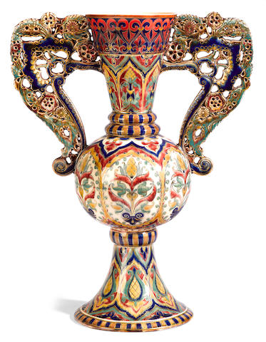 A Zsolnay Pecs glazed earthenware vase  late 19th century
