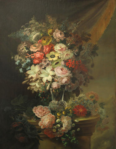 French School, 19th Century A still life with a bouquet of flowers in a crystal vase on a pedestal; A floral still life on a balustrade (a pair) 34 x 25 1/2in