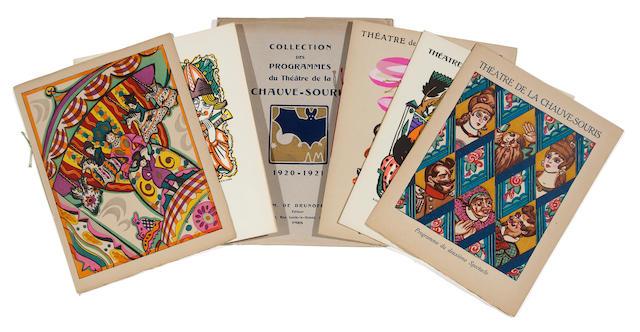 SUDEIKIN, SERGEI IUREVICH, AND NICOLAI REMIZOV. Collection des Programmes du Théâtre de la Chauve-souris 1920-1921 (cover title).  [Paris: Comoedia Illustré, 1922].