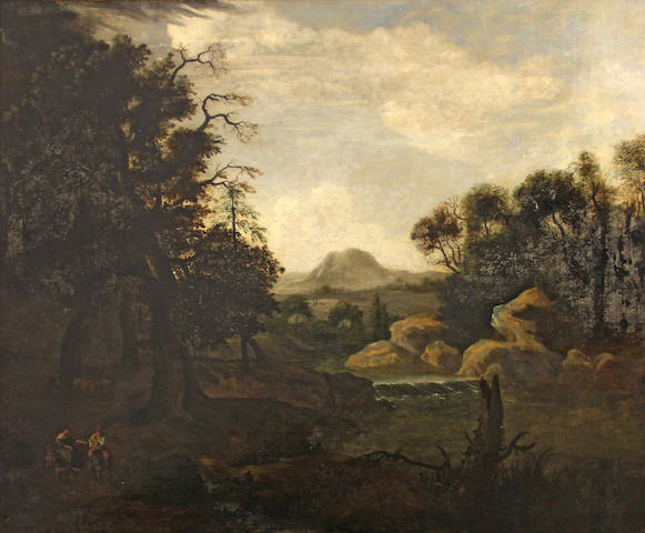 Manner of Jan Both  SENDING TO BK An extensive landscape with a two figures on horses by a river bank 37 1/4 x 45 1/4in (94.6 x 114.9cm)