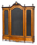 A Louis XVI style mahogany and bird's eye maple bedroom suite <BR />late 19th century