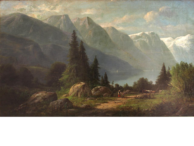 Attributed to Carl Jungheim (German, 1830-1886) Figures and cattle on a path near an alpine lake 30 x 48in