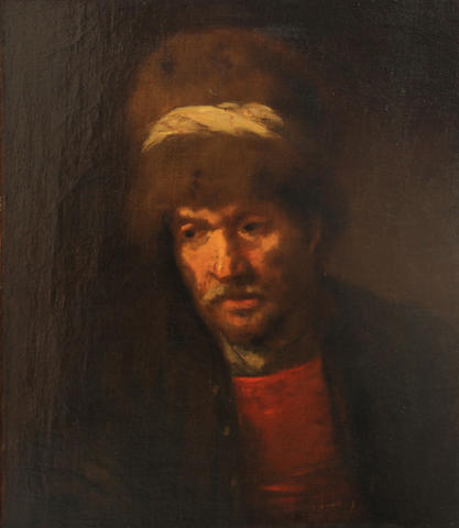 Follower of Fabritius  SENDING TO BK A portrait of a man, quarter-length, wearing a hat 23 1/4 x 19in (59 x 48.2cm)