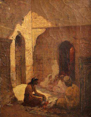 Attributed to Carl Leopold Müller (German, 1834-1892) A sketch of an Arab courtyard 9 x 7in unframed