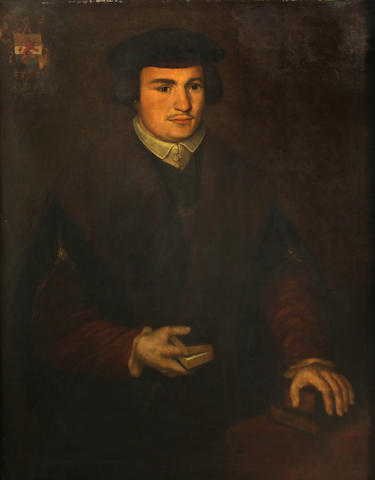 Follower of Holbein   SENDING TO BK A portrait of a man, half-length, holding a book 36 1/4 x 28 3/4in (92.1 x 73cm)