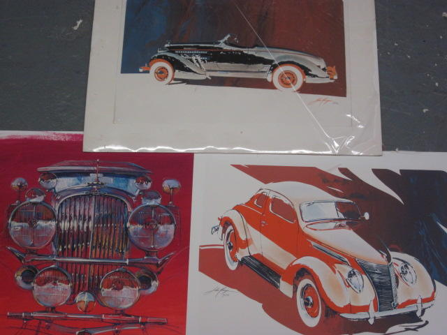 A lot of three John Kruger automotive prints,