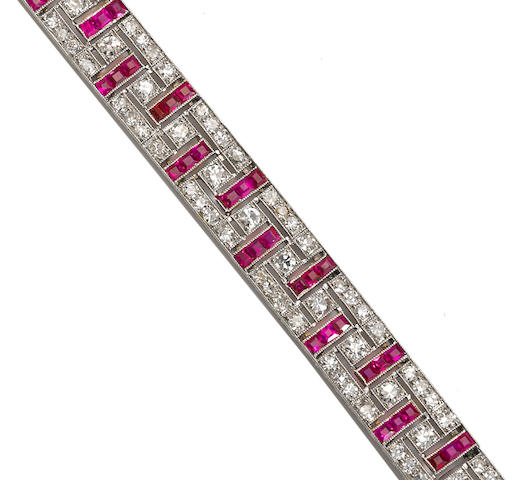 An art deco diamond and ruby bracelet, French,