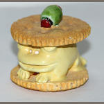 Gilhooly, Ritz cracker frog, painted ceramic, 3in high
