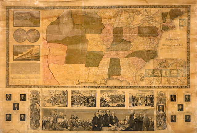 Wall map - United States. Ensign, T and E.H. Ensigns's Travellers guide and Map of the United States, Containing the Roads, Distances, Steam Boat and Canal Routes. New York: 1845.