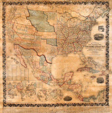 Wall Map - United States and Central America. Mitchell, S Augustus. New National Map, exhibiting the United States with the North America British Provinces, Sandwich Islands, Mexico and Central America, Cuba and other West India Islands....constructed and engraved by w Williams. Philadelphia: n.d. [but circa 1856]