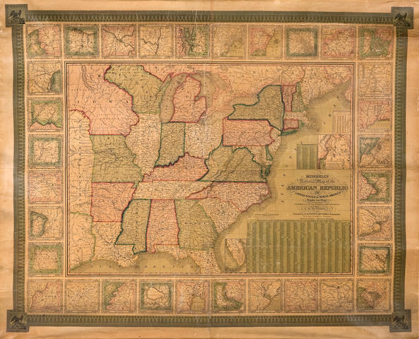 Wall Map - United States. Mitchell, S. Augustus Mitchell's National map of the American Republic or United States of North America...drawn by J.H.Young and engraved by J.H.Brightly Philadelphia: 1845