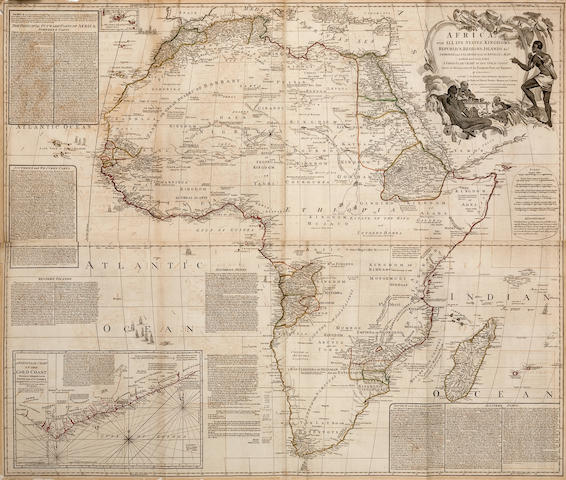 Wall Map - Africa. Boulton, Samuel. Africa with All its States, Kingdoms, Republics, Regions, Islands &c. Improved and Inlarged from D'Anville's Map: To which have been Added a Particular Chart of the Gold Coast.... London: Laurie & Whittle, 1794.<BR />