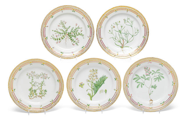 A set of five Royal Copenhagen porcelain Flora Danica luncheon plates  early 20th century