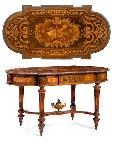 A Napoleon III gilt bronze mounted marquetry inlaid mahogany table de milieu <BR />third quarter 19th century
