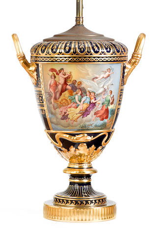 A Vienna style porcelain vase now mounted as a lamp <BR />early 20th century