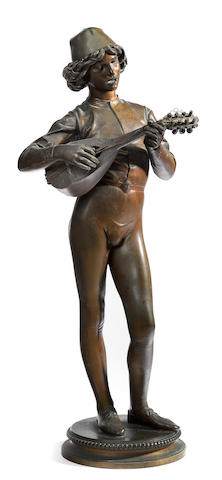 A French patinated bronze figure: Le Chanteur Florentin <BR />after a model by Paul Dubois (French, 1829-1905)<BR />F. Barbedienne foundry, Paris<BR />late 19th century