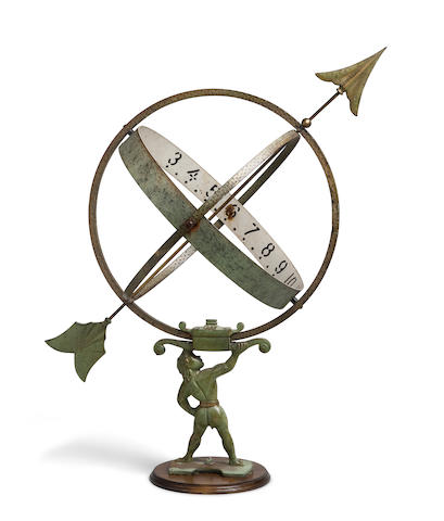 An Atlas garden armillary sundial 30-1/4 in. (76.8 cm.) height.