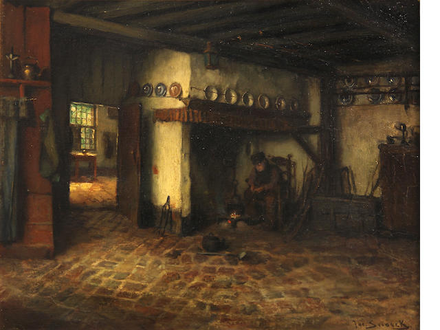 Jacques (Jacob Cornelis) Snoeck (Dutch, 1881-1921) A Dutch Interior 11 1/2 x 14 1/2in