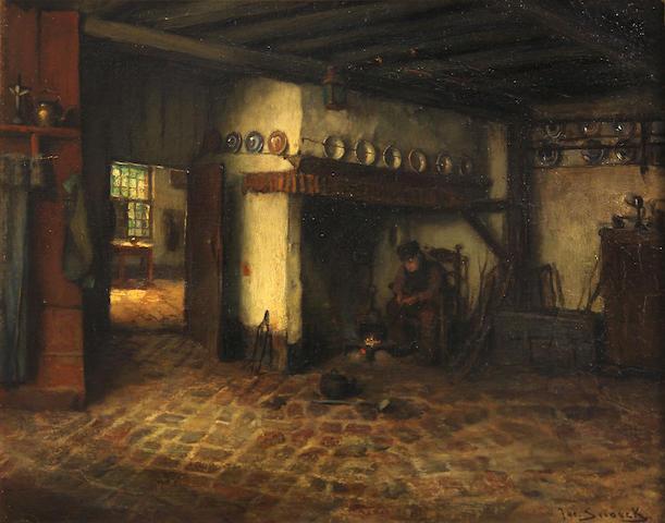 Jacques (Jacob Cornelis) Snoeck (Dutch, 1881-1921) A Dutch Interior 11 1/2 x 14 1/2in
