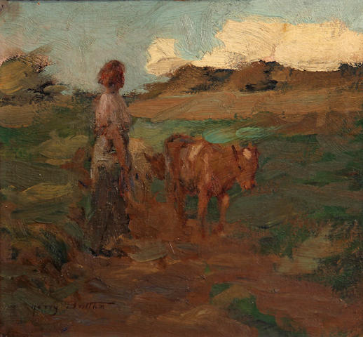 Harry Britton (Canadian, 1878-1958) Woman with cattle 9 1/2 x 10in