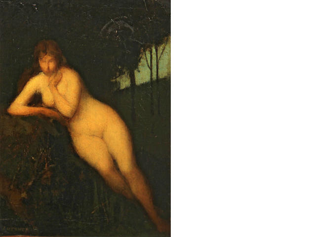 Jean Jacques Henner (French, 1829-1905) Nude in a landscape 9 3/4 x 7in