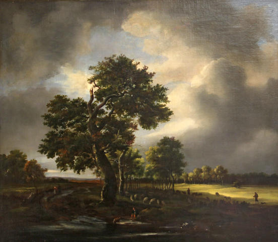 Manner of Jacob van Ruisdael Shepherds with their flock in a landscape 21 x 24in