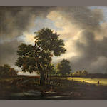 Manner of Jacob van Ruisdael Shepherds with flock in a landscape 21 x 24in