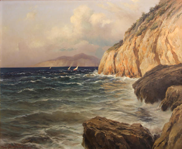 Michele Federico (Italian, 1884-1966) Coast of Capri 20 x 24in