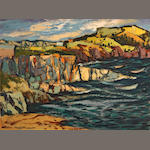 Henri Leopold Masson, OSA, CGP, GSPWC (Canadian, 1907-1996) Flat Rocks Cove, NFLD 18 x 24in