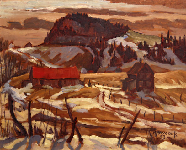 Maurice Hall Haycock (Canadian, 1900-1988) Country B[?] of Matane 11 x 14in