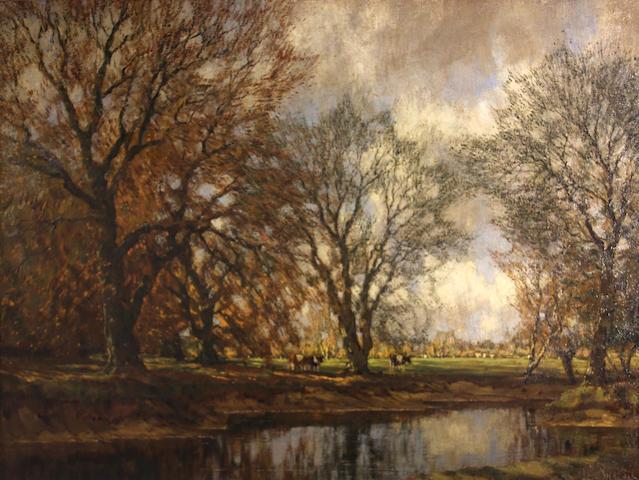 Arnold Marc Gorter (Dutch, 1866-1933) Cattle alongside a creek 22 1/2 x 29 1/2in