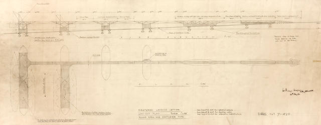 WORLD WAR II—D-DAY LANDINGS. THE FIRST KNOWN PLANS DRAWN FOR THE MULBERRY HARBORS. HUGHES, HUGH IORYS.  9 original pencil drafts, various sizes (19 ½ x 9 ½ inches to 38 x 23 ¼  inches), [London], June 17 to August 6, 1942, being Hughes original designs for the temporary harbors used during the D-Day invasions at Omaha Beach and Arromanches, each additionally annotated by Hughes, each sketch professionally conserved and matted.