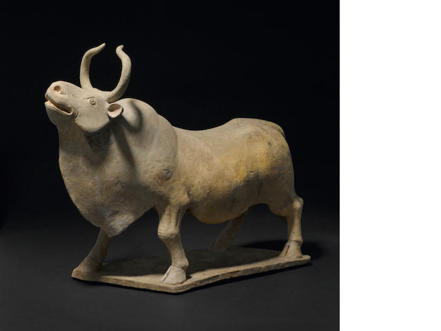 A painted pottery figure of a bull  Northern Qi dynasty